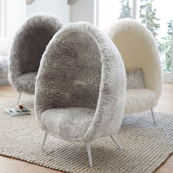 Ivory Furlicious Faux Fur Cave Chair Lounge Chair