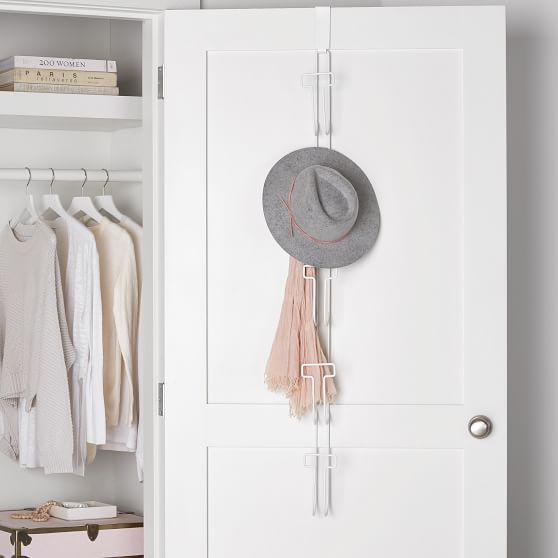 Over The Door Hat Rack Dorm Closet Organizer Pottery