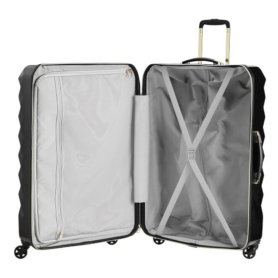 Luxe Hard Sided Black Checked Spinner Suitcase Pottery