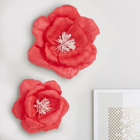 Crepe Flowers Set Of 2 Wall Decor Pottery Barn Teen