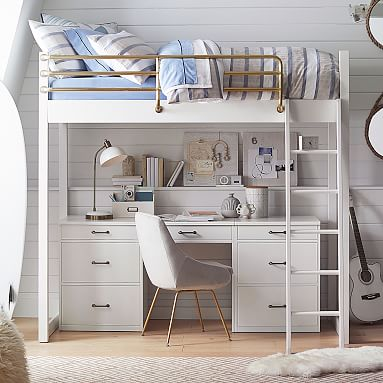 Waverly Loft Bed Desk Amp Chest Set Pottery Barn Teen