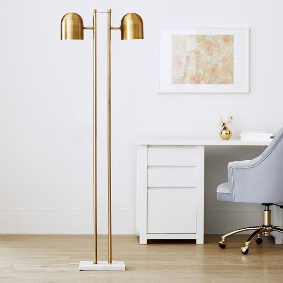 Gold Double Dome Floor Lamp Sale Pottery Barn Teen