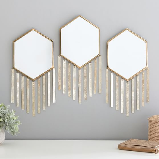 Capiz Strip Decorative Mirrors Set Of 3 Pottery Barn Teen