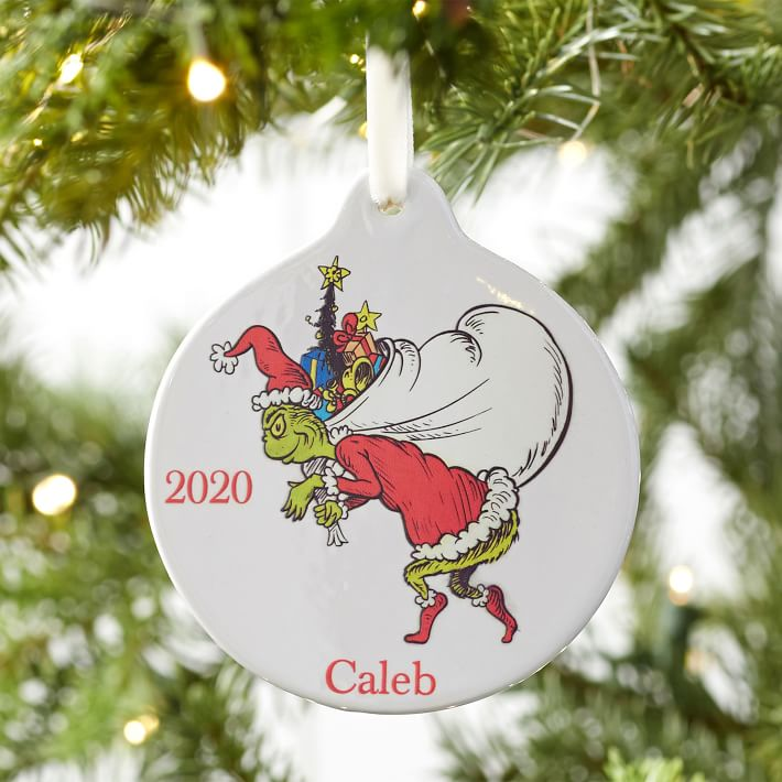 The Grinch Ceramic Disc Ornament Pottery Barn Teen