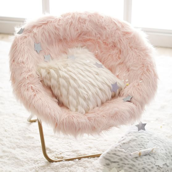 Himalayan Faux Fur Blush Hang A Round Chair Pottery Barn Teen