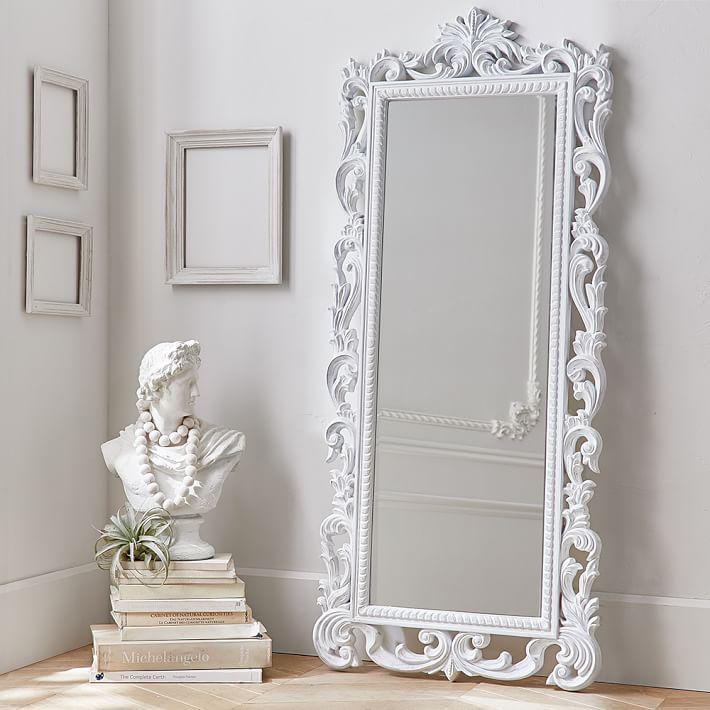 Lennon Maisy Ornate Carved Floor, Pottery Barn Carved Wood Floor Mirror