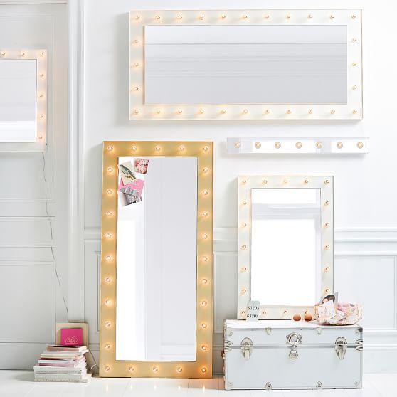 Marquee Floor Length Light Mirror, Big Standing Mirror With Light Bulbs
