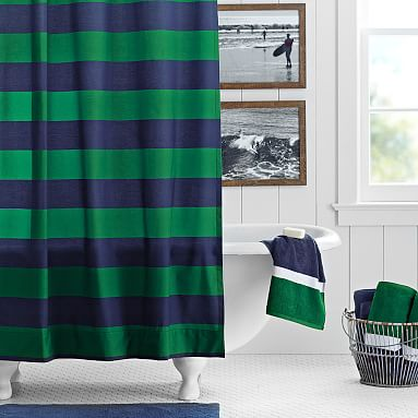 Navy Green Rugby Stripe Teen Shower Curtain Pottery Barn