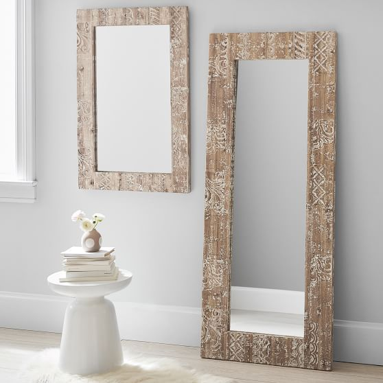 Carved Wood Decorative Mirror Pottery, Pottery Barn Carved Wood Floor Mirror