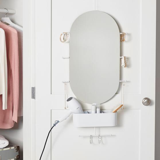Over The Door Oval Mirror Organizer, Over The Door Mirror With Jewelry Storage