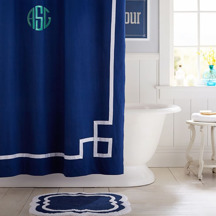 Royal Navy Emma Ribbon Trim Teen Shower Curtain Pottery Barn