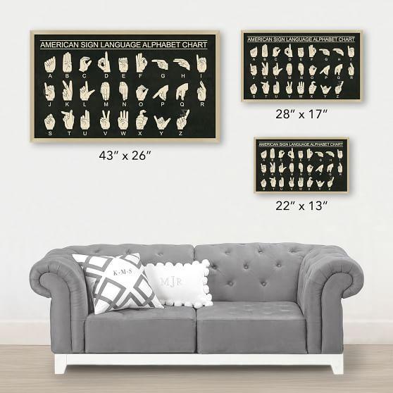 American Sign Language Alphabet Framed Art Wall Prints Pottery Barn Teen