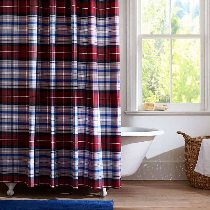 Red Portsmith Plaid Teen Shower Curtain Pottery Barn