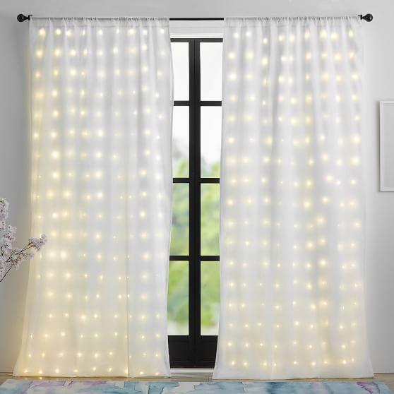 fairy light sheer curtain white