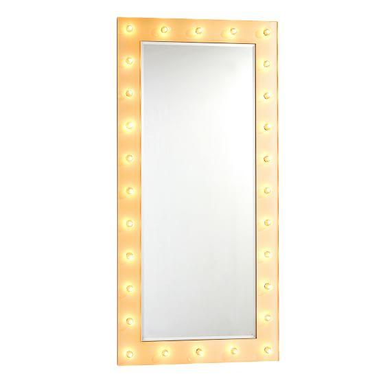 Marquee Floor Length Light Mirror, White Floor Mirror With Lights