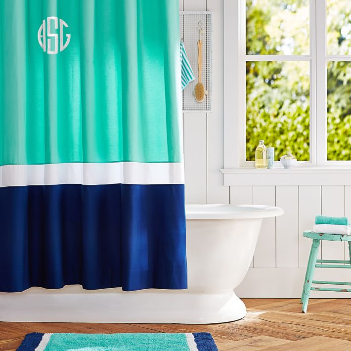 Pool Royal Navy Color Block Teen Shower Curtain Pottery Barn