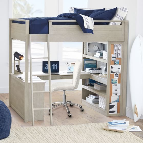 Sleep Study Loft Bed Pottery Barn Teen, Bed With Desk Attached