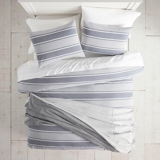 Pottery Barn PB Teen Organic Tie Dye Stripe twin or XL sheet set gray