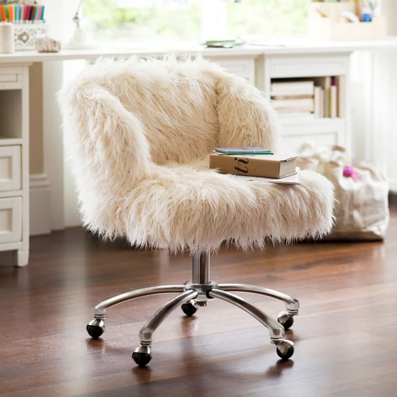 Ivory Furlicious Wingback Desk Chair, Teenage Desk Chairs