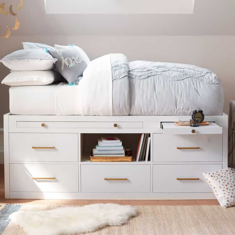Bed Twin Daybed With Trundle, Coaster La Salle Twin Captain S Bed With Trundle And Storage In White