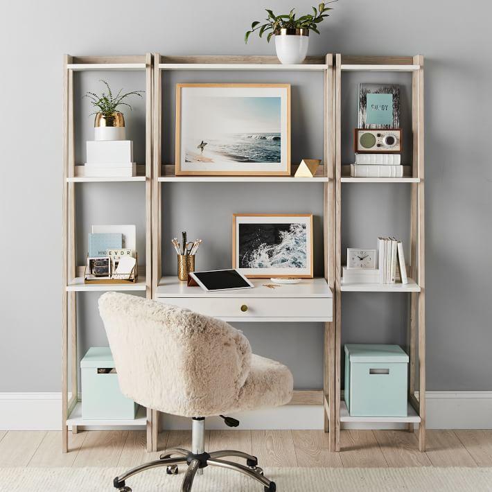 Highland Wall Teen Desk Narrow, Narrow Desk With Shelves