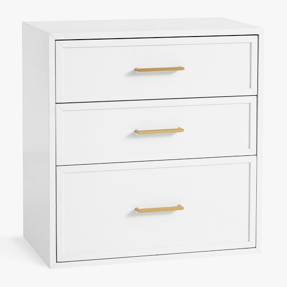 Blaire Wall System 3 Drawer Storage, White Storage Furniture With Baskets