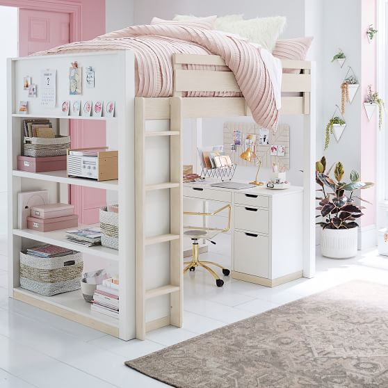 Rhys Loft Bed With Desk Pottery Barn Teen, Loft Bed With Drawers And Desk