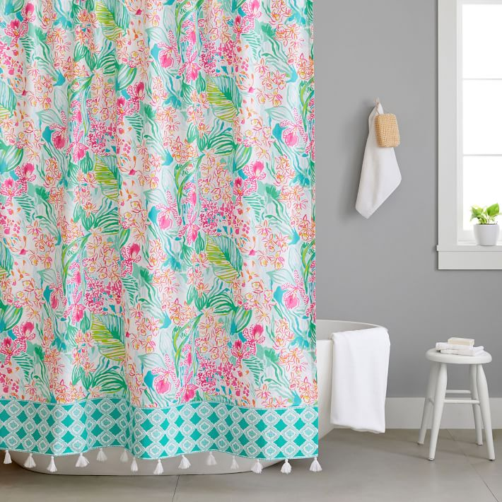 Lilly Pulitzer Orchid Shower Curtain, Lilly Pulitzer Bathroom