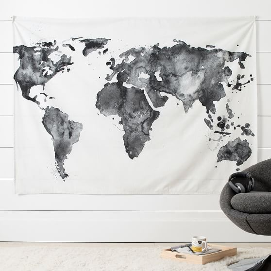 tapestry map of the world World Map Dorm Tapestry Pottery Barn Teen