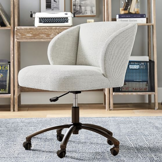 Twill Wingback Swivel Chair Teen Desk Chair Pottery
