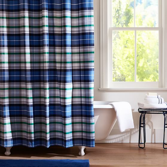 Navy Portsmith Plaid Teen Shower Curtain | Pottery Barn Teen