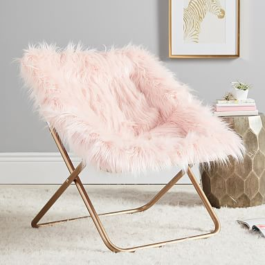 Himalayan Faux Fur Blush Round Square Chair Pottery Barn