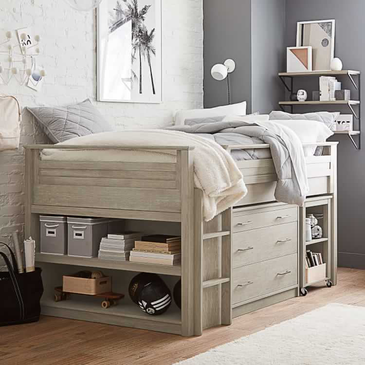 Sleep & Study® Low Loft Bed Set | Pottery Barn Teen