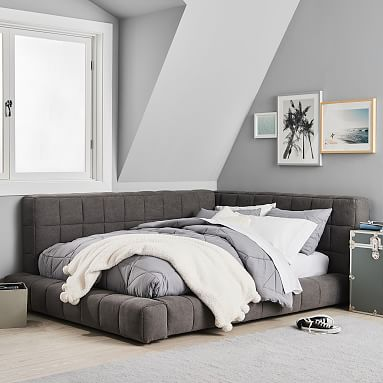Baldwin Lounge Corner Upholstered Bed Teen Bed Pottery Barn Teen