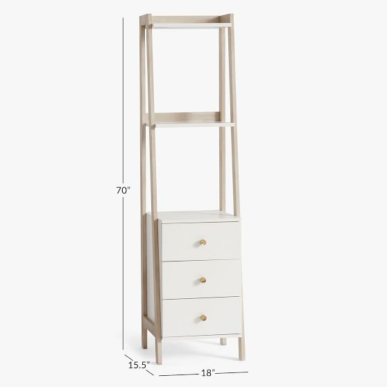Highland Narrow Storage Bookshelf With Drawers Pottery Barn Teen