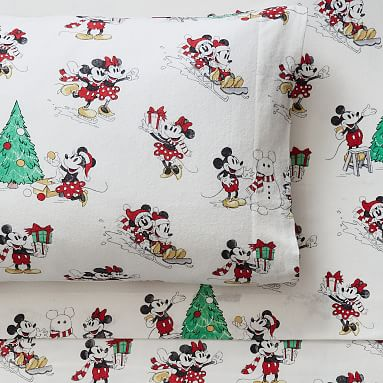 Disney Mickey Mouse Holiday Organic Flannel Sheet Set