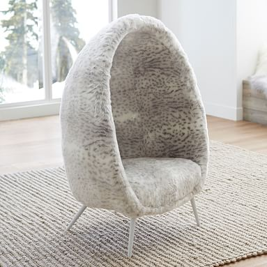 Gray Leopard Faux Fur Cave Chair Lounge Chair Pottery