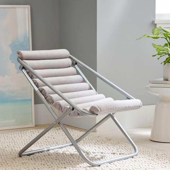Performance Everyday Velvet Gray Channeled Sling Chair