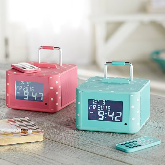 Pottery Barn Teen Triple C Groove And Go Bluetooth Alarm Clock bright pink dot