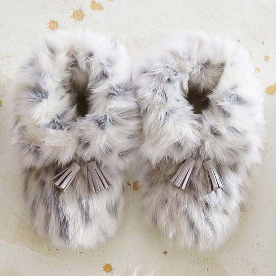 Gray Leopard Ankle Tassel Faux-Fur