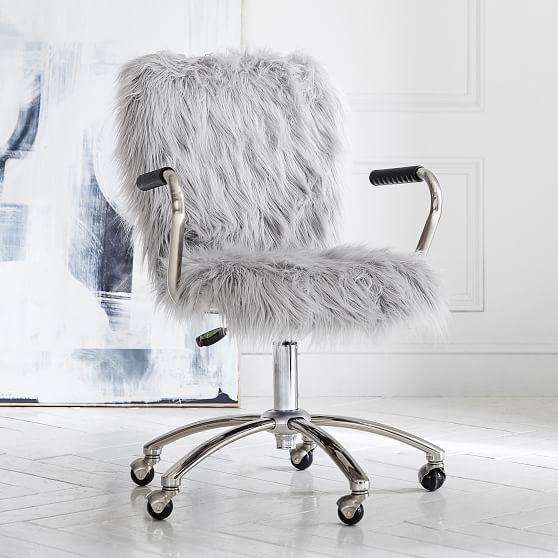 Ivory Sherpa Faux Fur Wingback Desk Chair Desk Chair Pottery Barn Teen