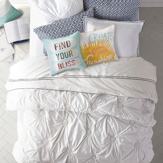Light Pool Blue Pottery Barn Teen Ruched Rosette Twin Quilt New