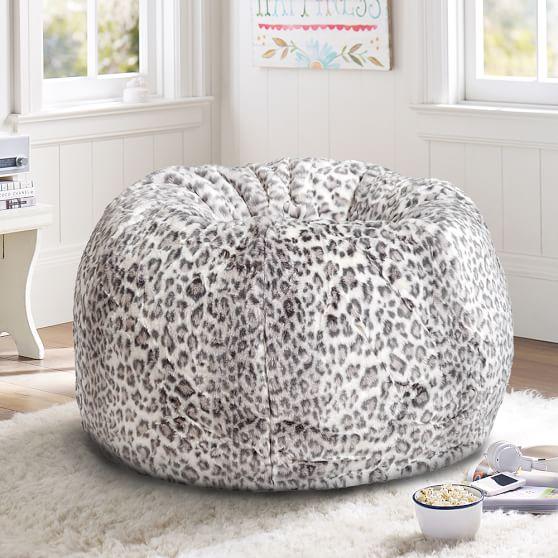 Gray Cheetah Faux Fur Bean Bag Chair Pottery Barn Teen