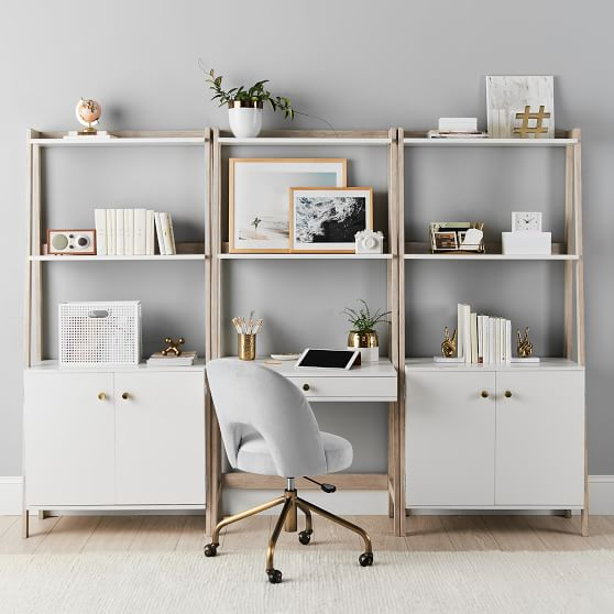 Wall Teen Desk Wide Bookcase With Cabinet Set Pottery Barn Teen