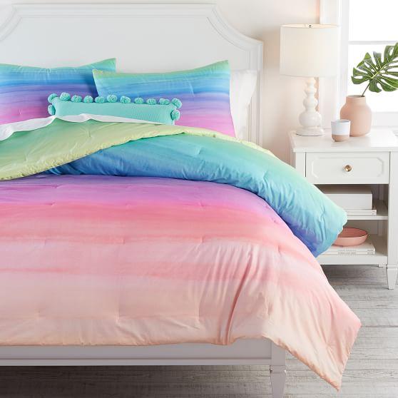 Watercolor Rainbow Ombre Comforter, Ombre Bedding Set Queen