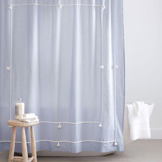 Classic Tassel Chambray Shower Curtain Pottery Barn Teen