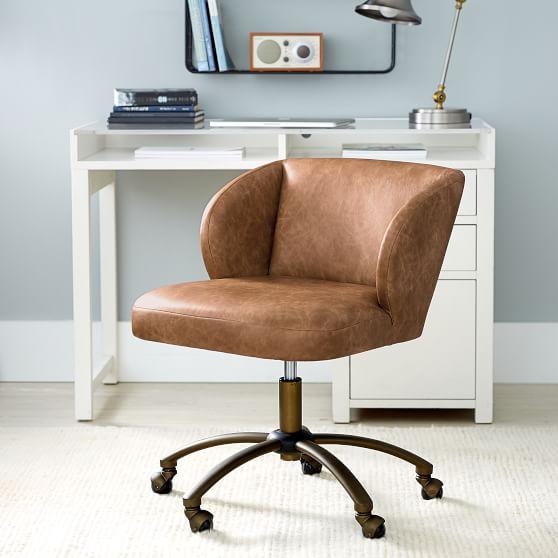 Vegan Leather Caramel Wingback Swivel Desk Chair Pottery Barn Teen