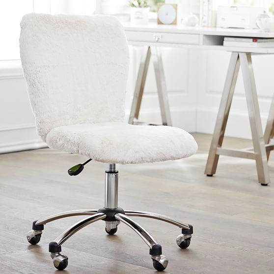 Polar Bear Faux Fur Airgo Arm Armless, Desk Chair For Teenage Girl Room