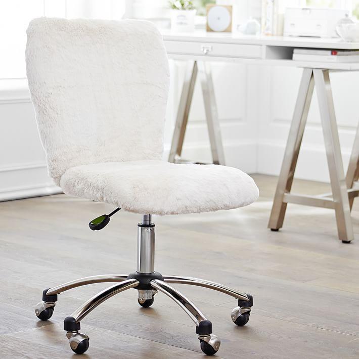 Polar Bear Faux Fur Airgo Arm Armless, Teenage Desk Chairs