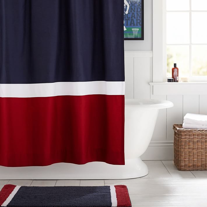 Navy Red Color Block Teen Shower Curtain Pottery Barn